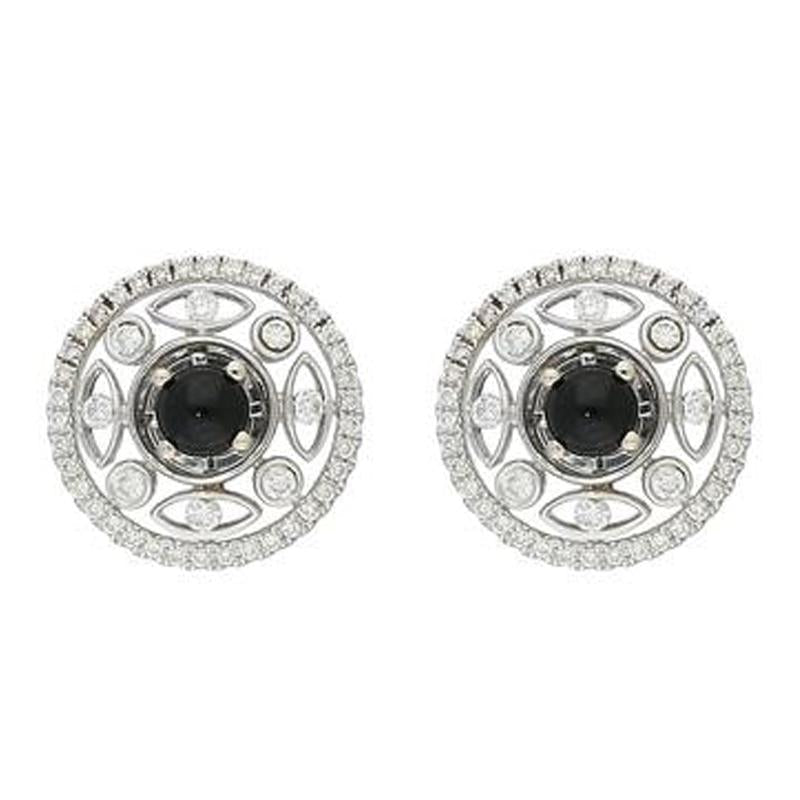 18ct White Gold Round Diamond Filigree Stud Earrings