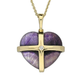 Medium Cross Heart Pendant With Diamond 1 Stone