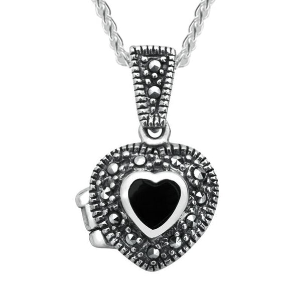 Marcasite Small Heart Beaded Edge Locket