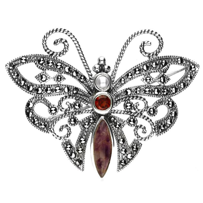 Small Silver Marcasite Derbyshire Blue John Garnet And Pearl Butterfly Brooch