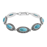 Marcasite Long Slim Oval Bracelet