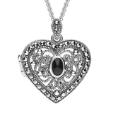 Marcasite Oval Stone Small Heart Locket