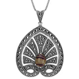 19th Century Lotus and Palmette Diamond Tiara Inspired Small Silver Marcasite Derbyshire Blue John Pendant