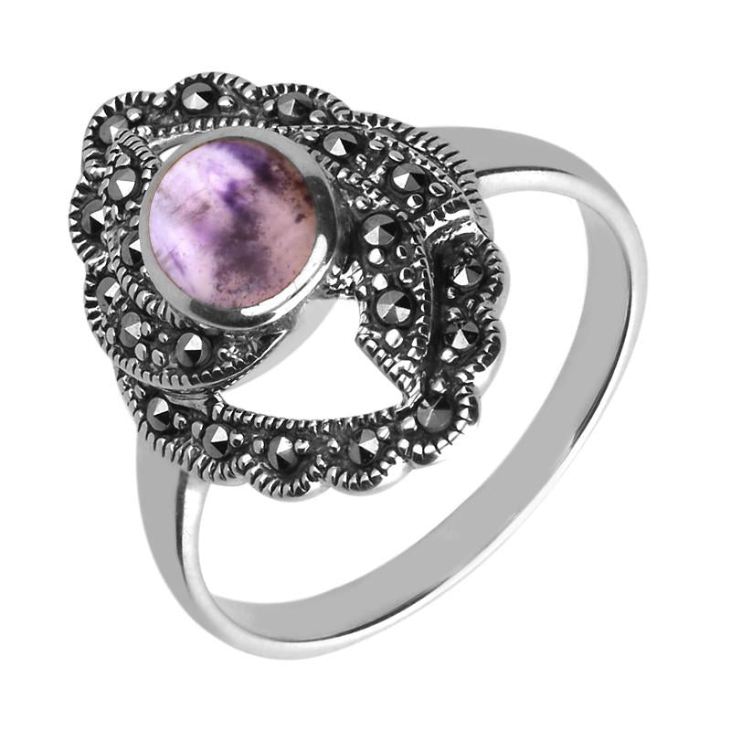 Marcasite Twisted Centre Marquise Ring