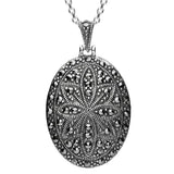 Marcasite Large Oval Star Backed Pendant