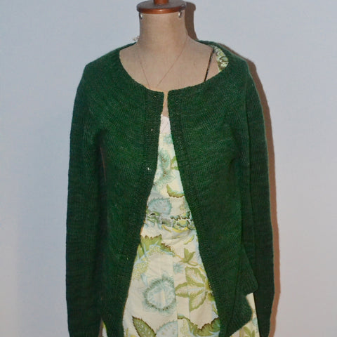 Green cardigan from The Yarn Bar