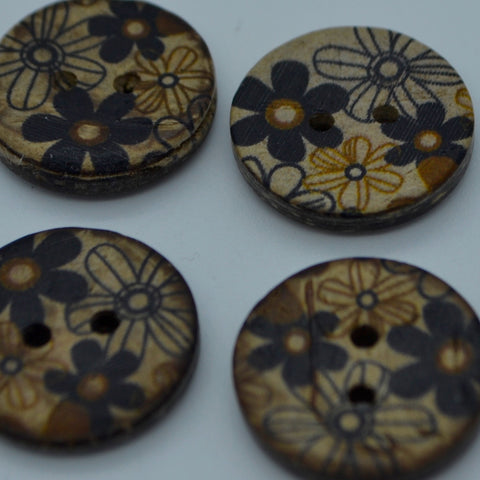 Coconut buttons - Black/biege (18mm)