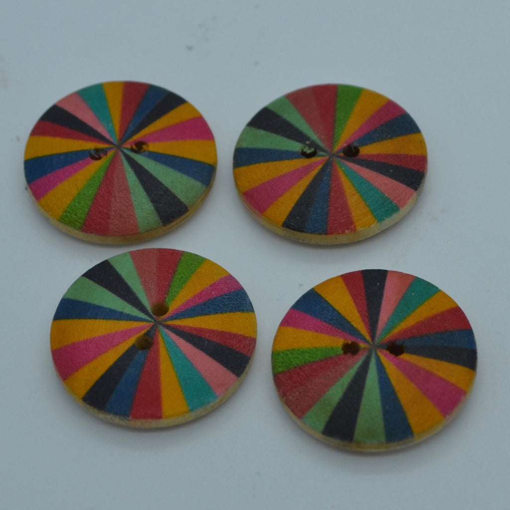 Wooden button - Coloured pinwheel 24mm