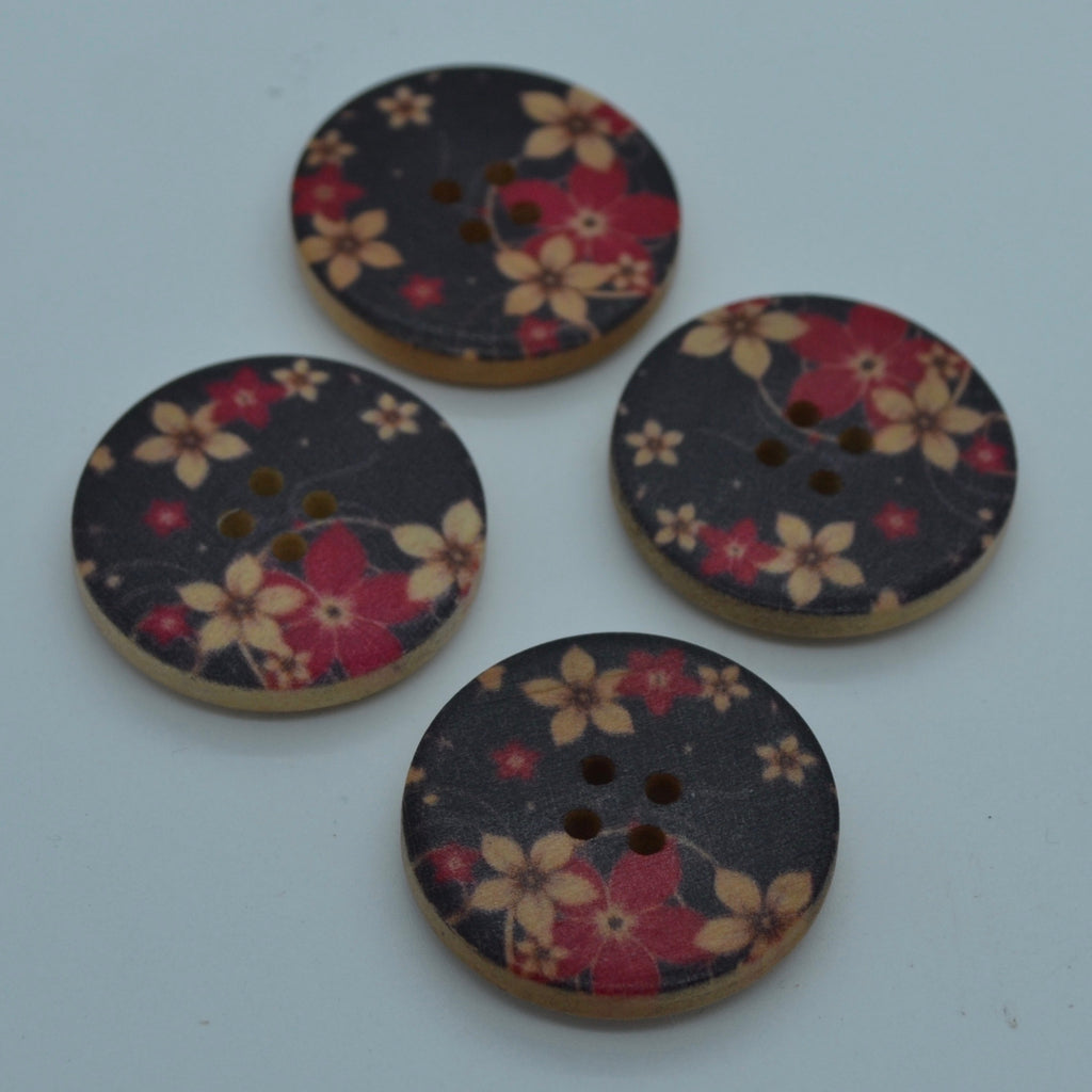 Wooden button - Black & red floral 30mm