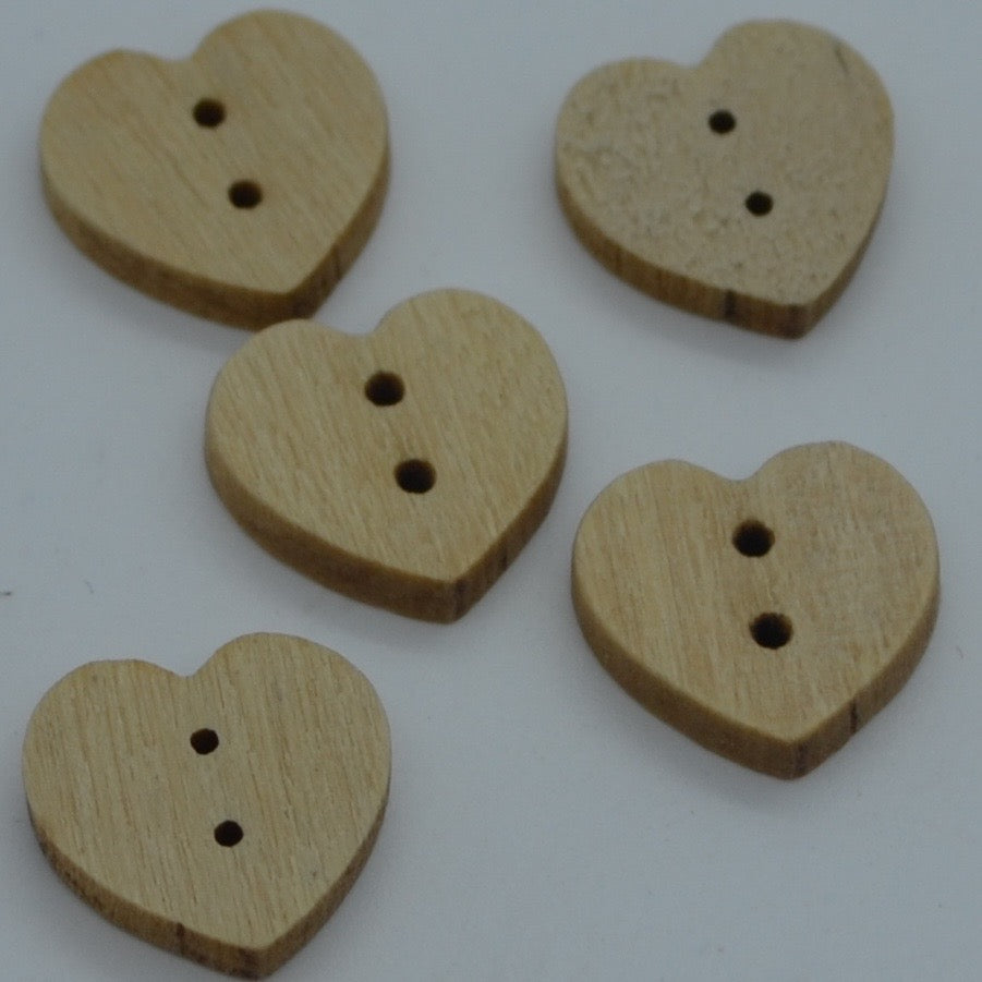 Wooden buttons - Heart shape