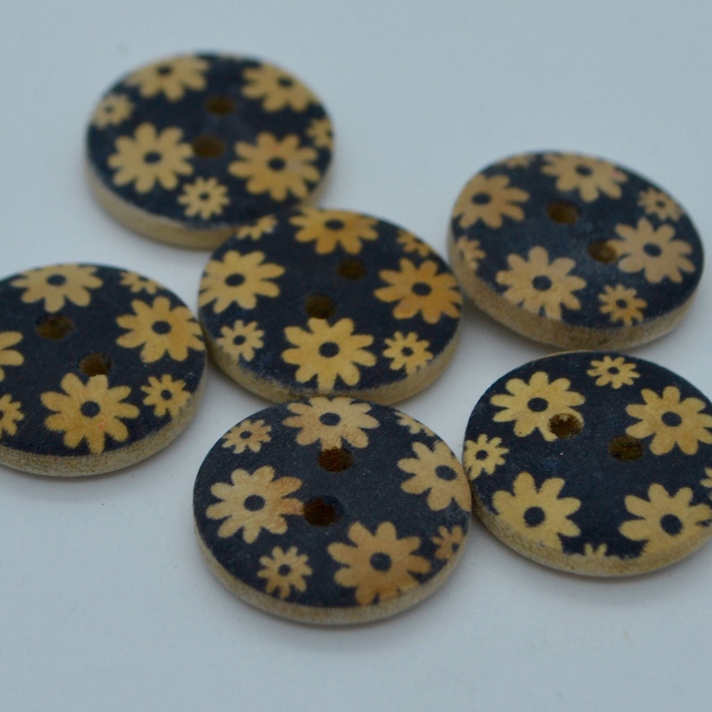 Wooden buttons - 18mm Natural and Black Floral