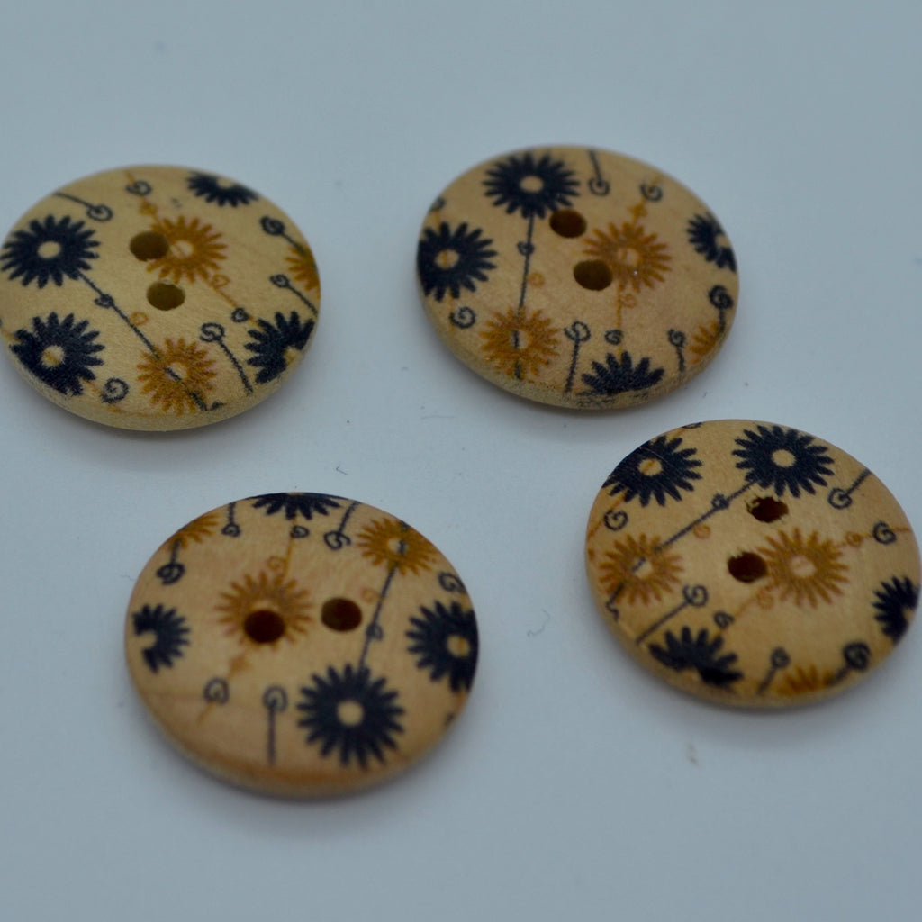 Wooden buttons - black & caramel (18mm)