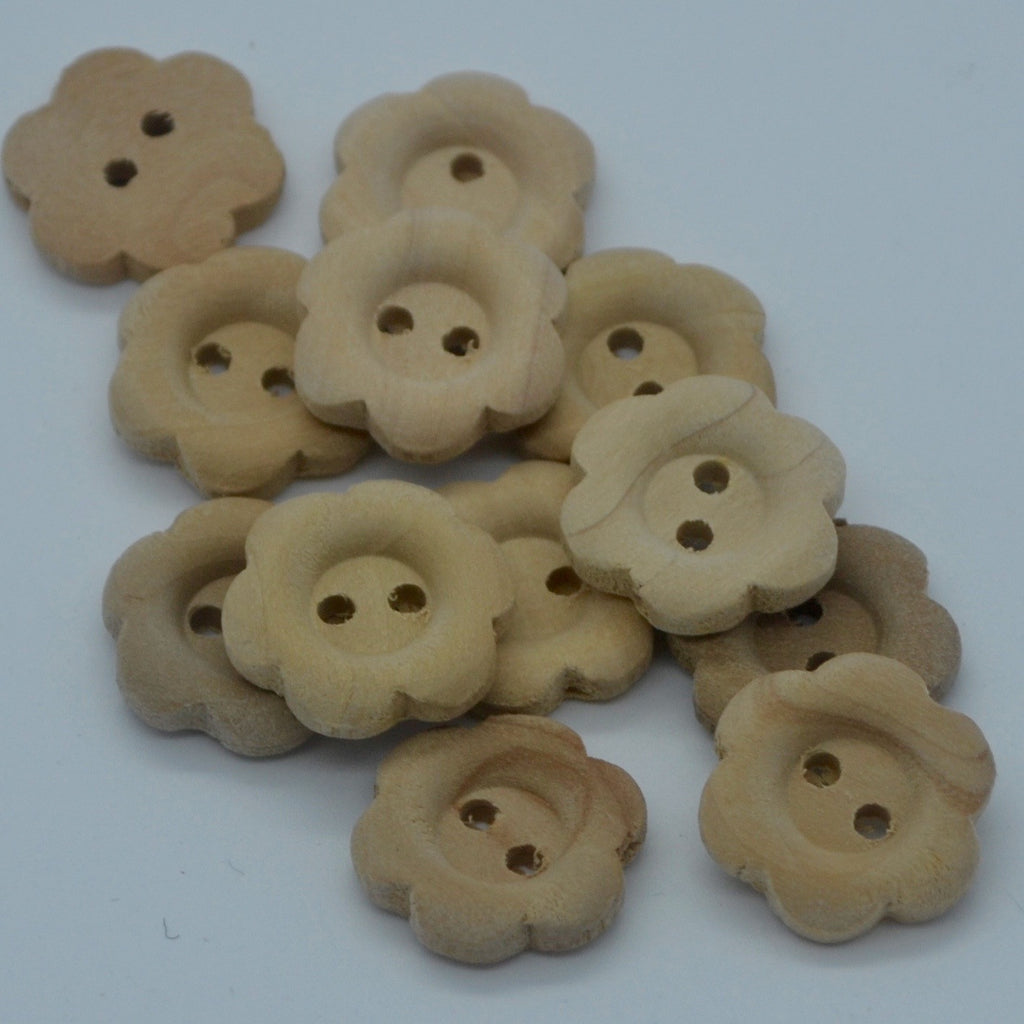Wooden buttons - Flower shape