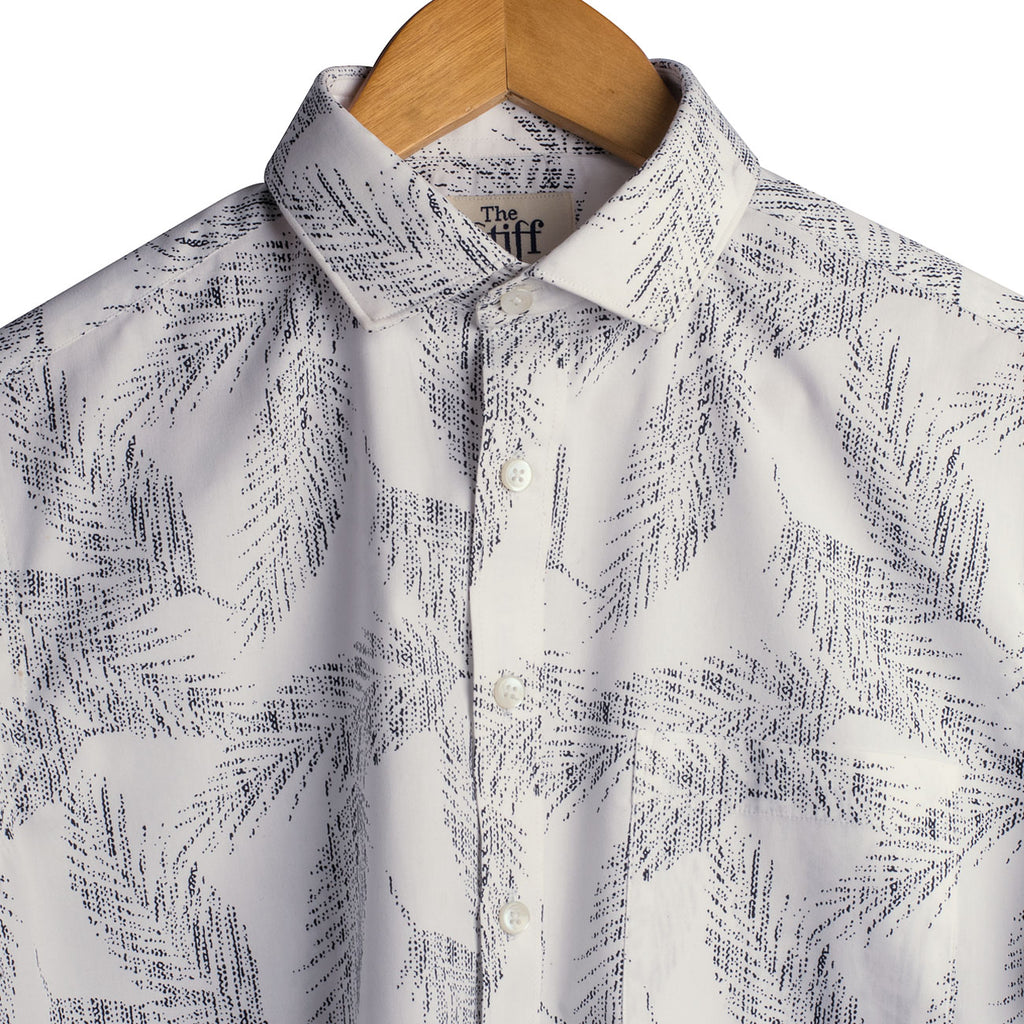 White Poplin Leaf Print Half Sleeves Shirt