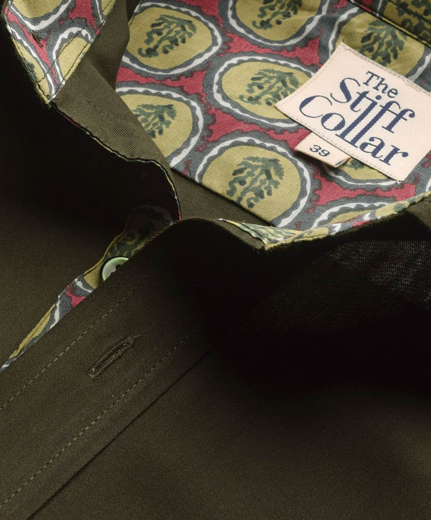 Olive Green Satin with Jaipur inlay Shirt