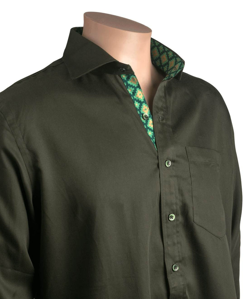Olive Green Satin with Checker lining