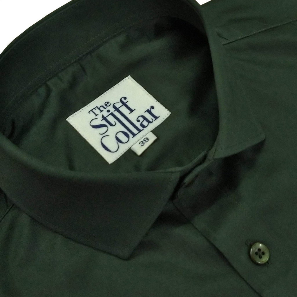Olive Green Satin Cotton Shirt