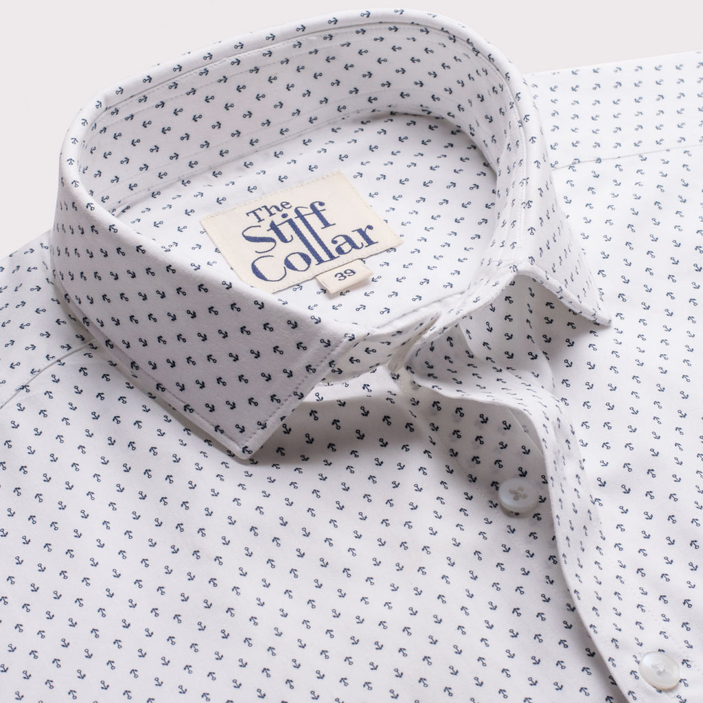 White Wrinkle Resistant Anchor Print Cotton Shirt