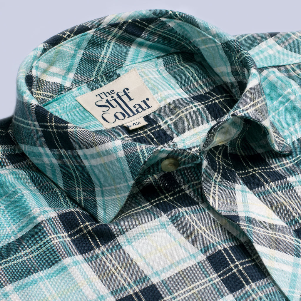 Luxurious Black Green Plaid Casual Rayon Shirt