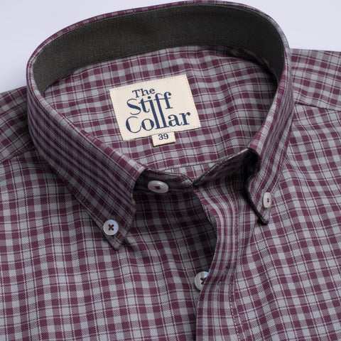Blue Herringbone 2 Ply Cotton Button Down Shirt