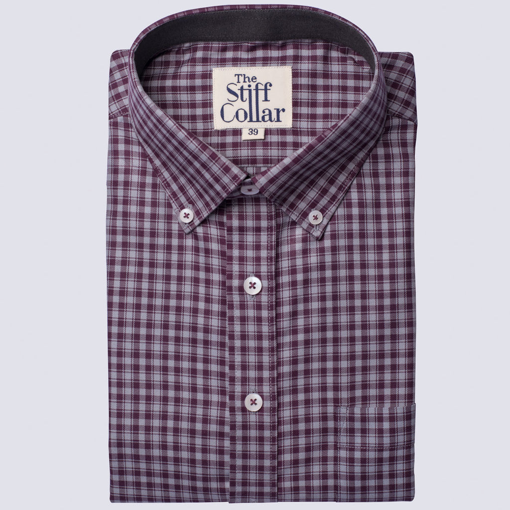 Plum Purple Check Button Down Shirt