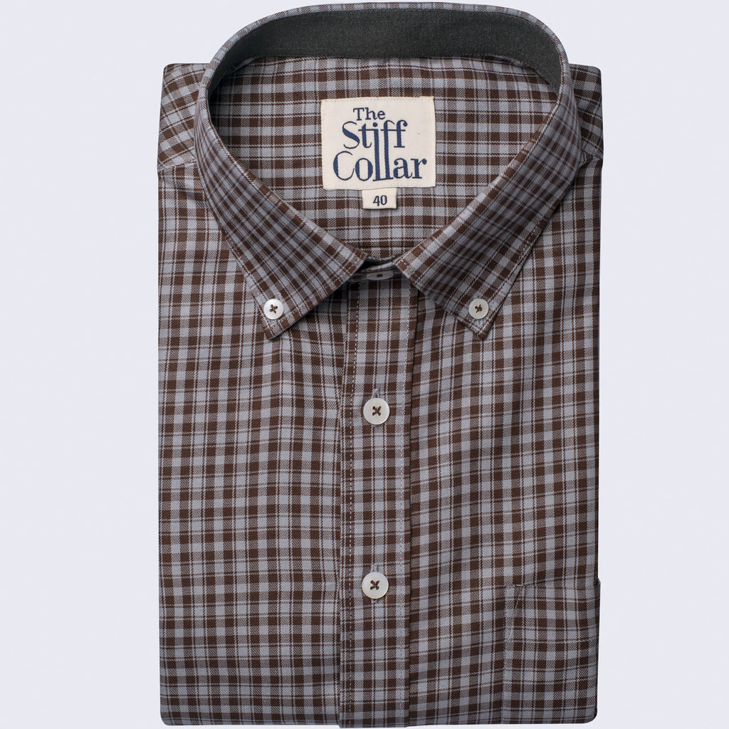 Pecan Brown Check Button Down Shirt