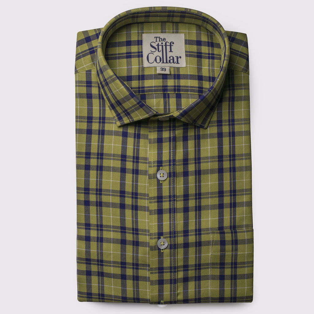Green Tartan Checks Regular Fit Shirt