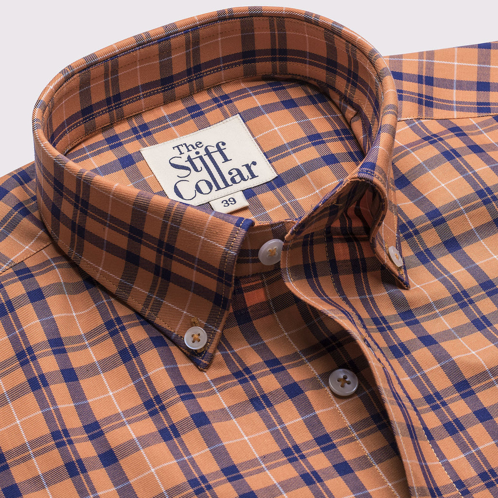 Orange Tartan Checks Button Down Shirt