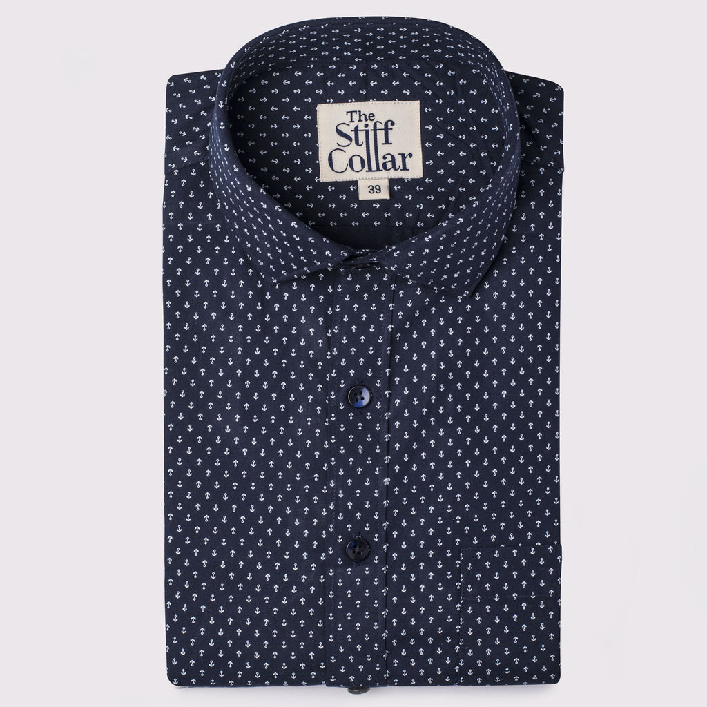 Midnight Blue Wrinkle Resistant Anchor Print Cotton Shirt