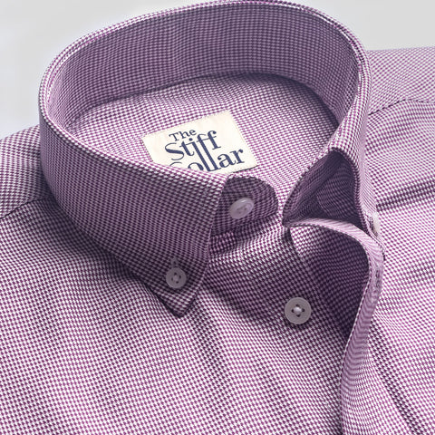Lavender Herringbone Button Down Shirt