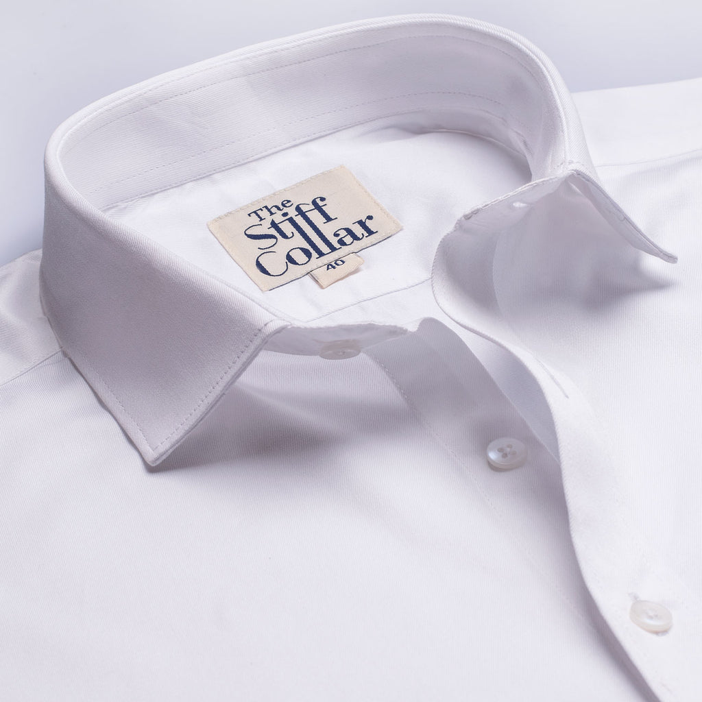 White Twill 2 Ply Regular Fit Formal Shirt