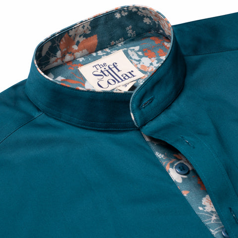 Feroza Turquoise Button Down Giza Cotton Shirt