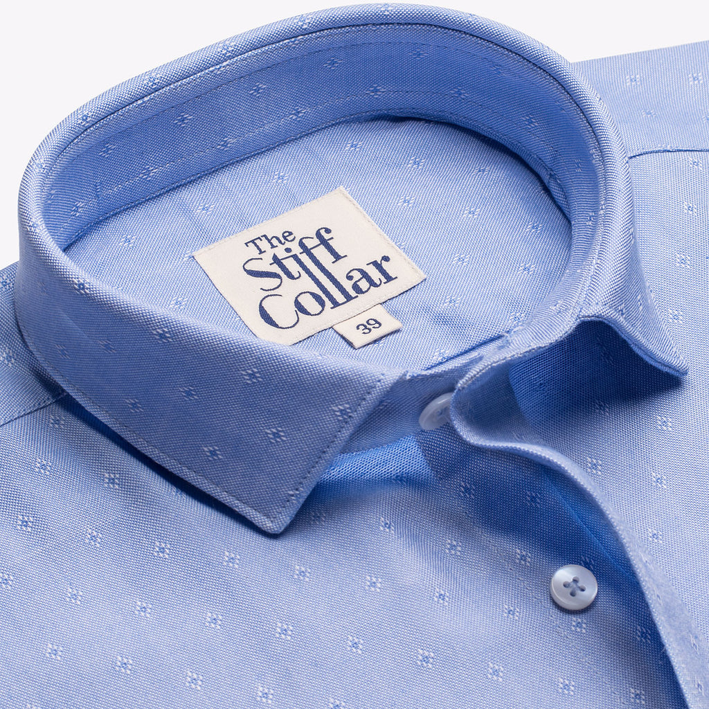Blue Oxford Diamond Dobby Half Sleeve Shirt