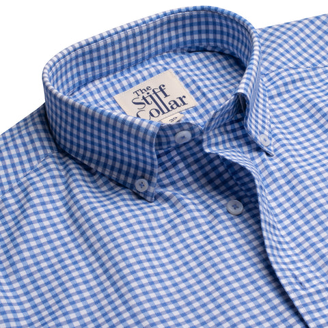 Coral Blue Houndstooth Print Regular Fit Shirt