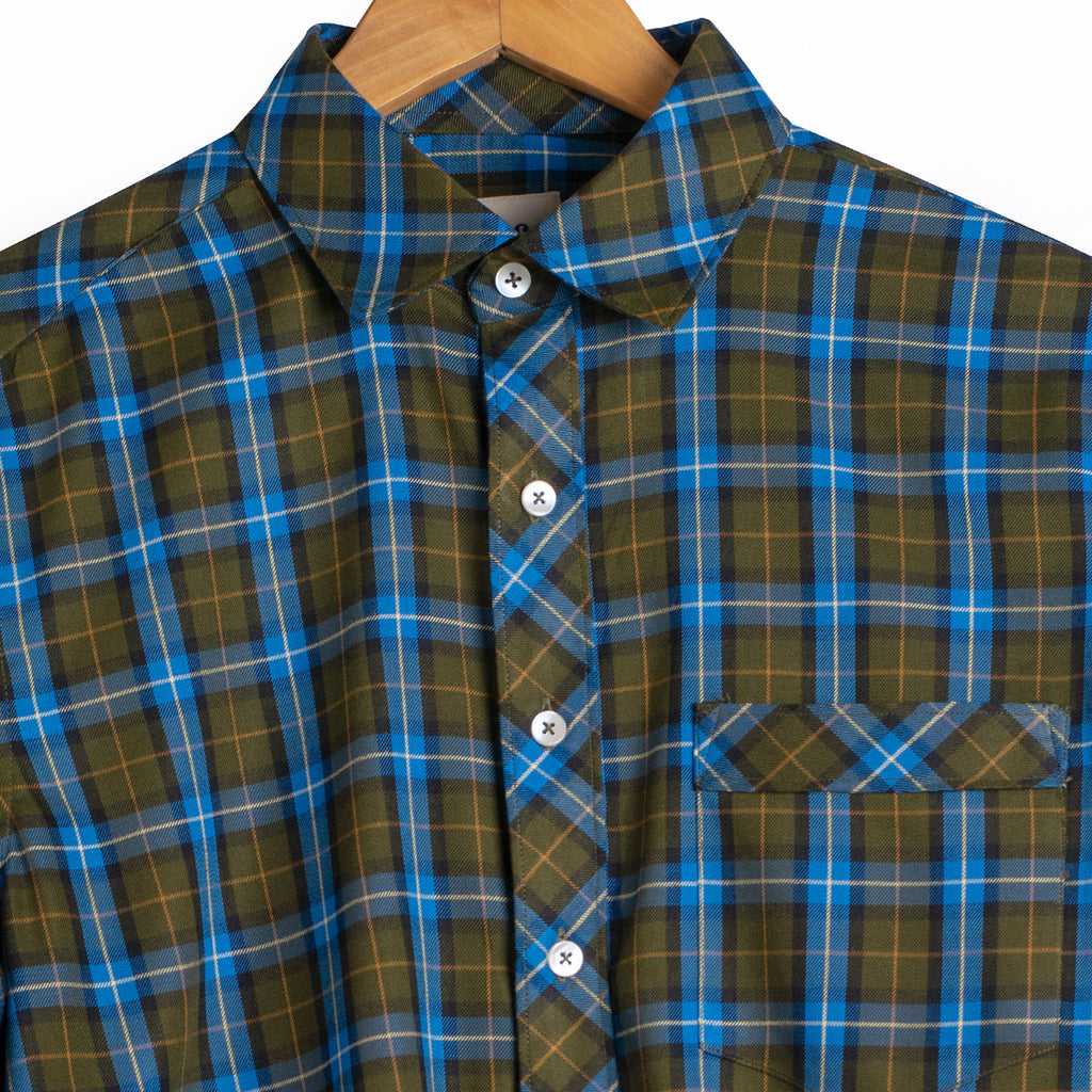 Luxurious Forest Green Blue Plaid Rayon Shirt