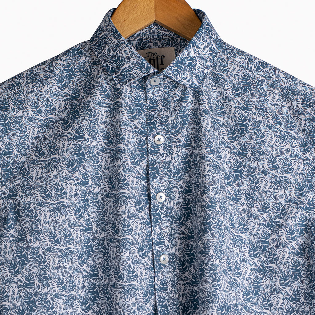 Subtle Blue Tribal Print Half Sleeves Shirt
