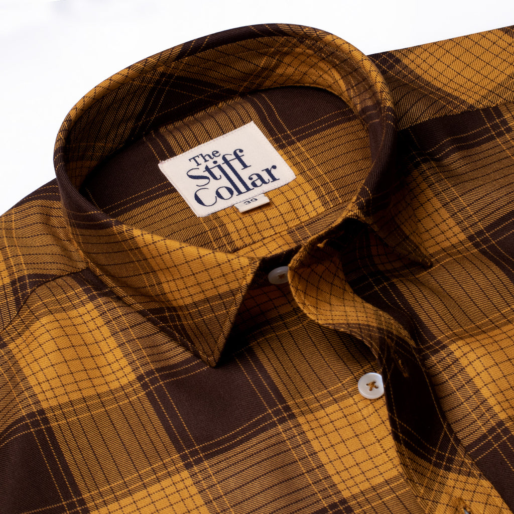 Luxurious Mustard Brown Plaid Rayon Shirt