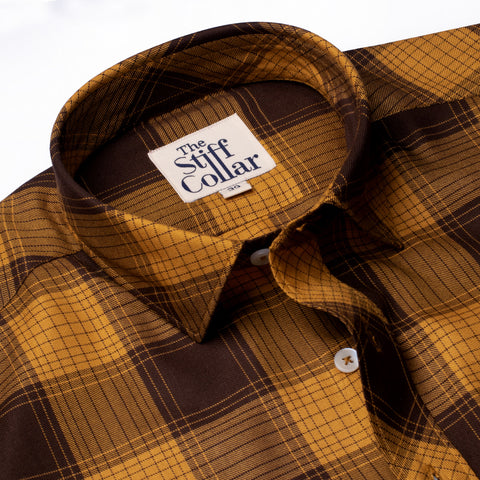 Wine Outlined Tartan Checks Regular Fit Shirt