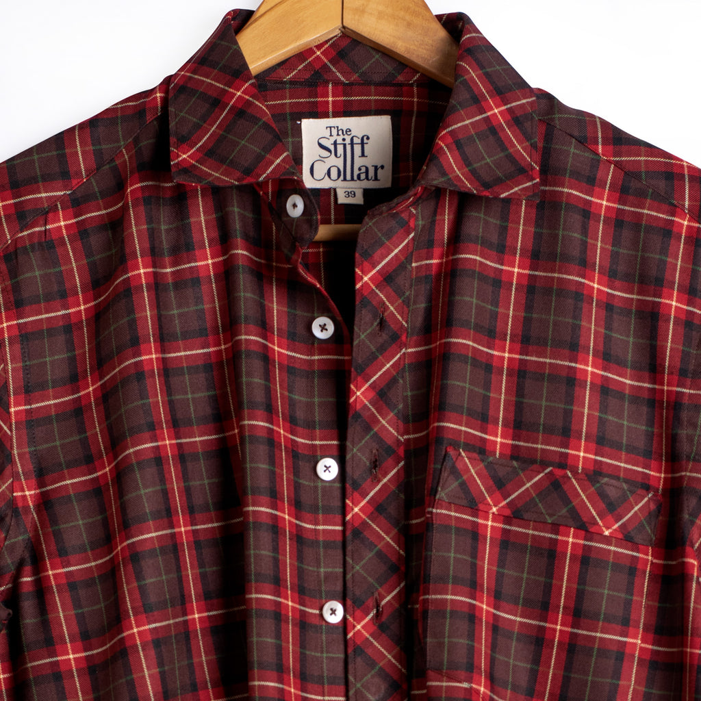 Luxurious Red Brown Plaid Plaid Rayon Shirt