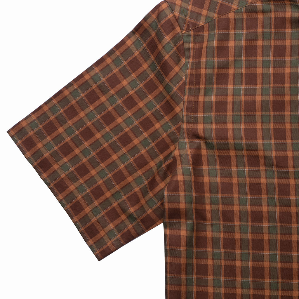 Deep Brown Window Checks Half Sleeves Shirt