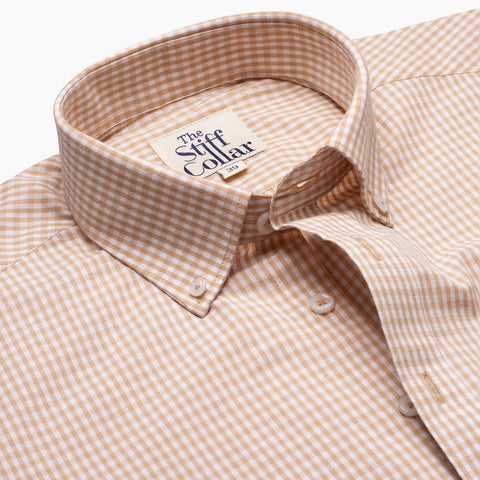 Coffee Brown Gingham Button Down Giza Cotton Shirt