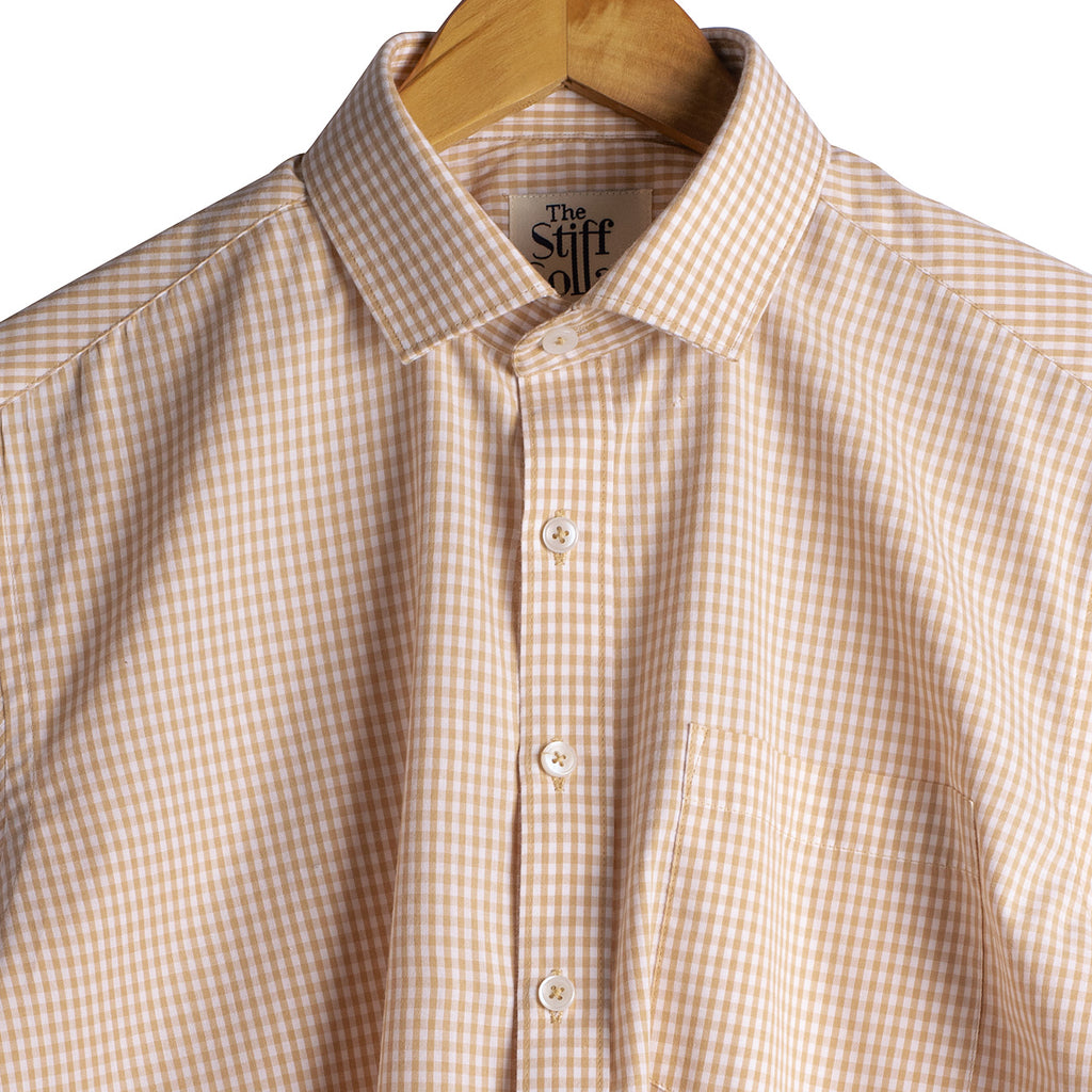 Camel Brown Gingham Regular Fit Giza Cotton Shirt