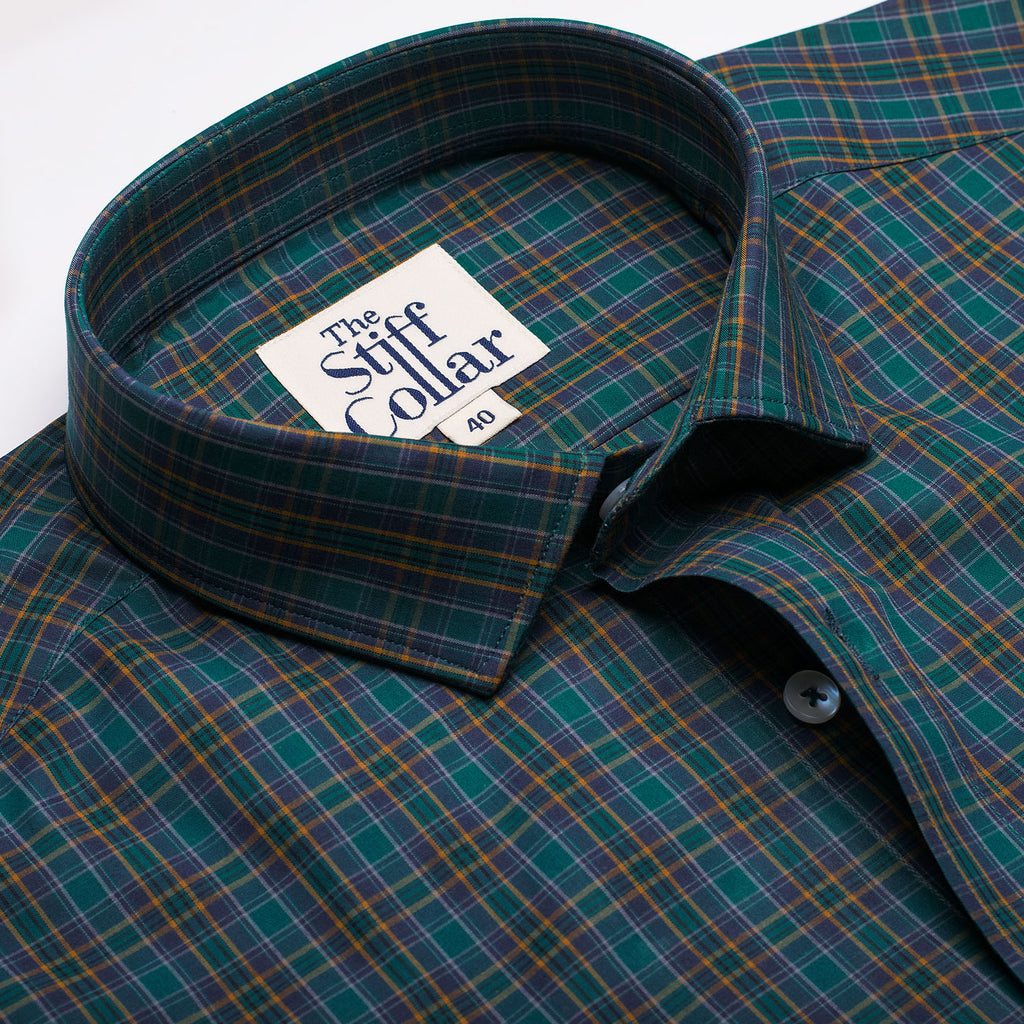 Teal Blue Green Check Regular Fit Shirt