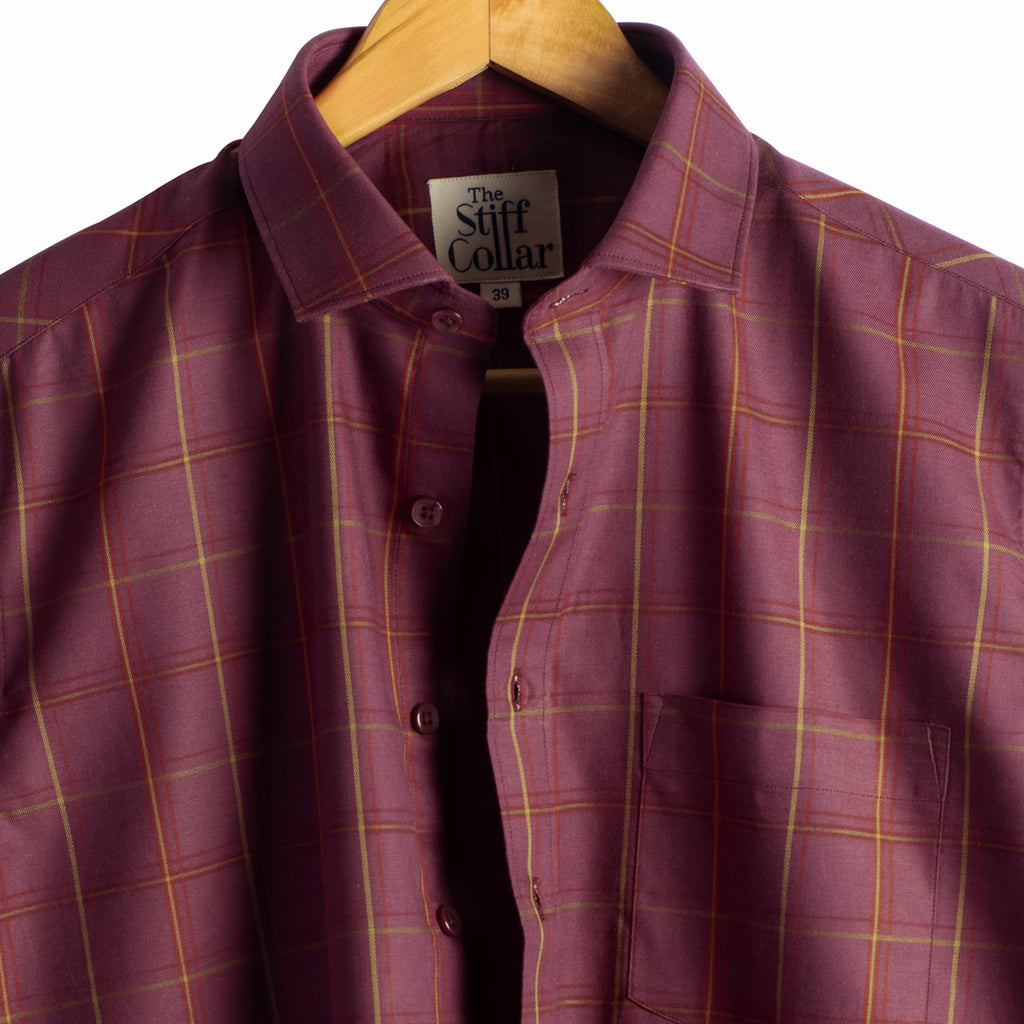 Currant Maroon Outlined Checks Regular Fit Shirt