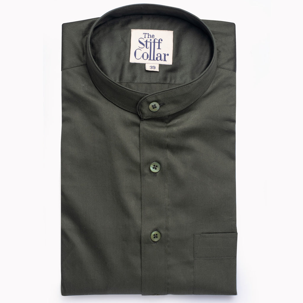 Olive Green Satin Mandarin Collar Cotton Shirt - Thestiffcollar.com