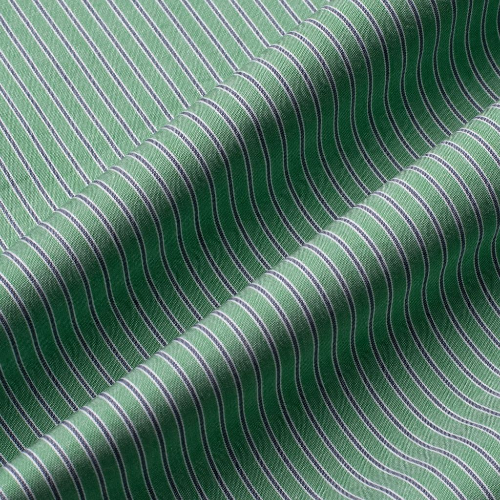 Asparagus Green Striped Regular Fit Cotton Shirt