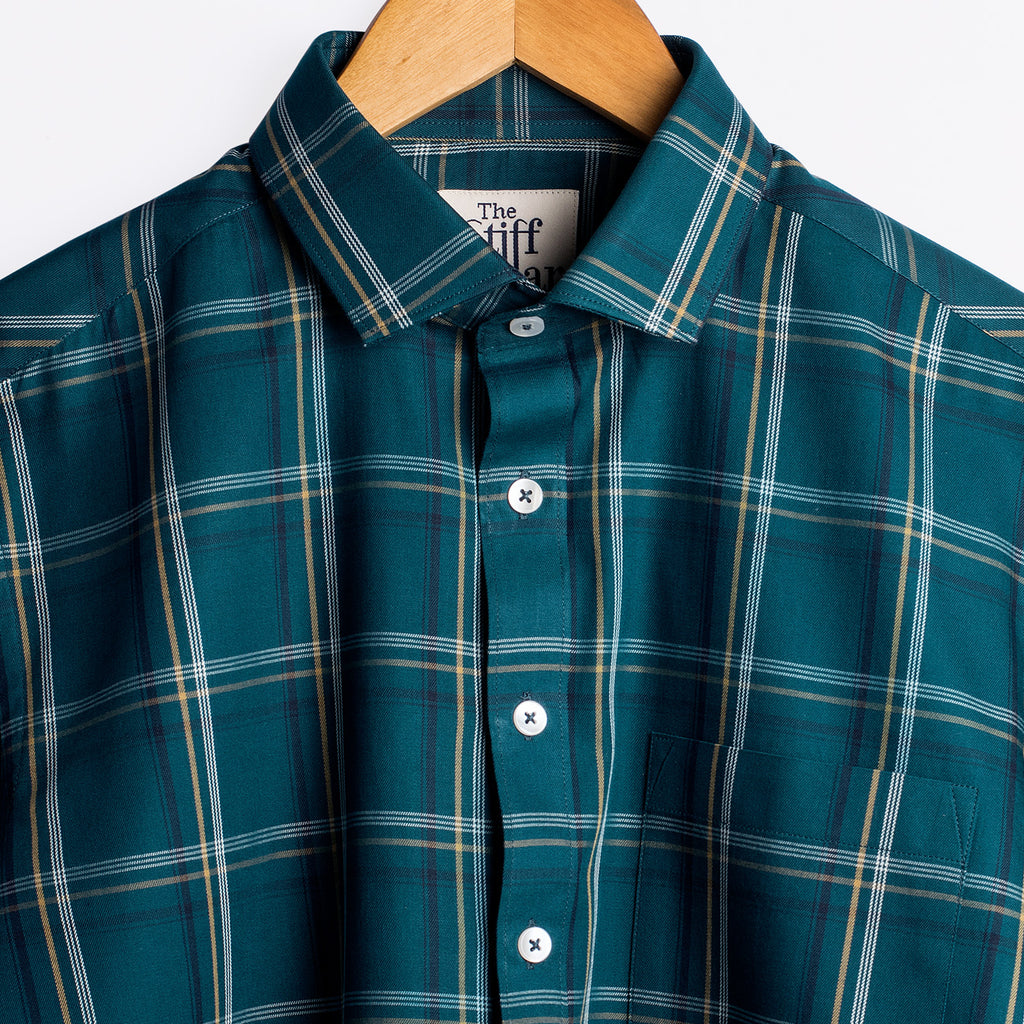 Teal Green Outlined Tartan Checks Regular Fit Shirt