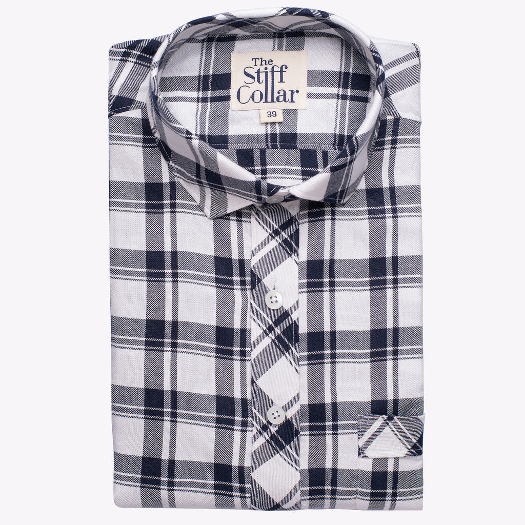Luxurious White Navy Plaid Rayon Shirt