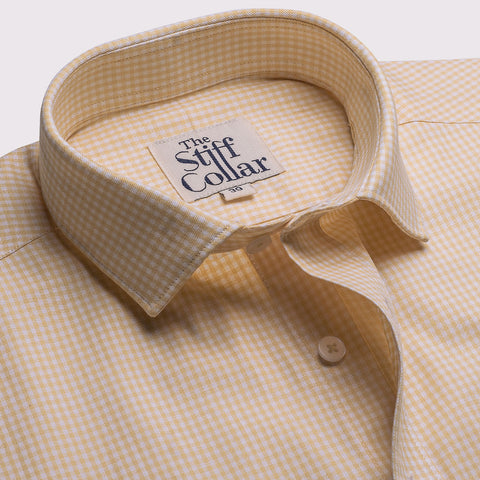 Golden White Herringbone 2 Ply Giza Cotton Half Sleeves Shirt