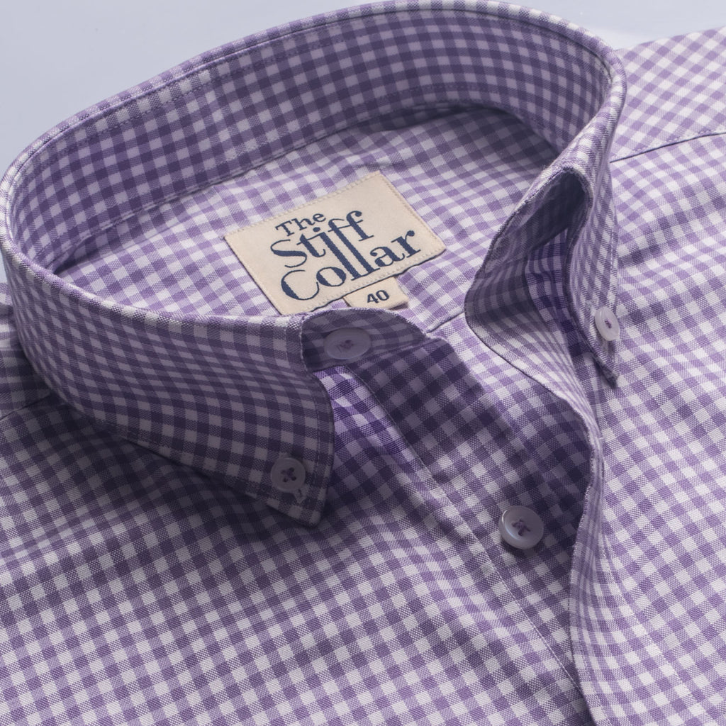 Lilac Gingham Button Down Half Sleeves Shirt